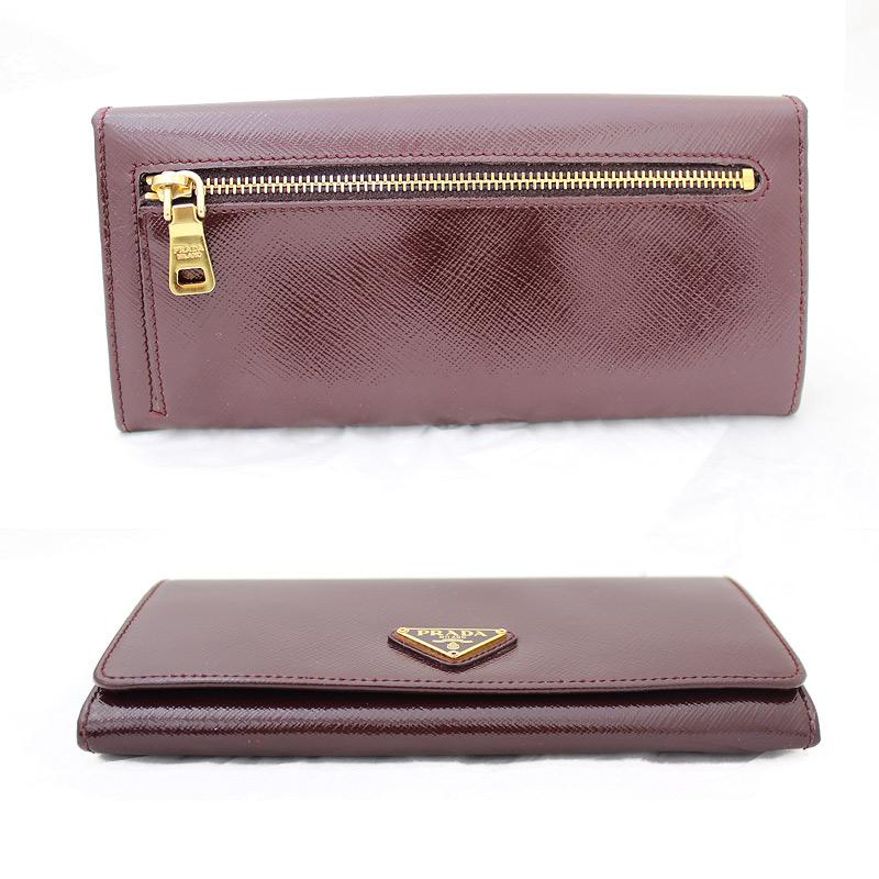 Prada Patent Leather Two Bi Fold Wallet 1 M 1132 Bordeaux Burgundy ...